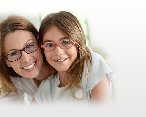 Mother and Daughter wearing Glasses from Optometrist